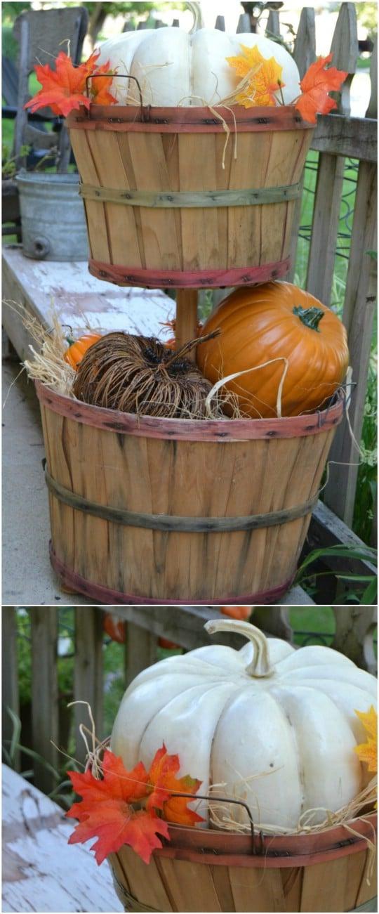 DIY Tiered Bushel Basket Décor