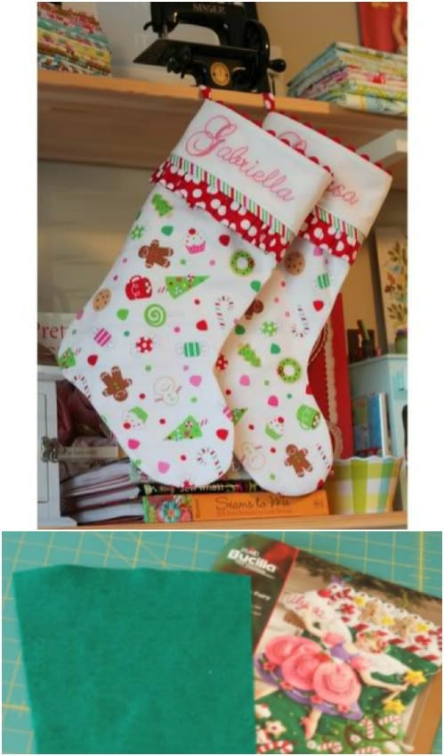 Cute DIY Stocking With Ruffled Cuff