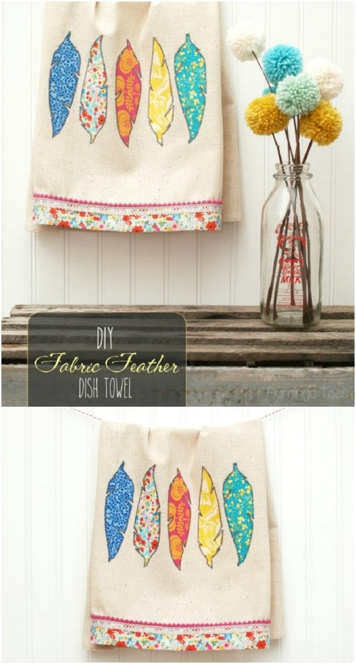 Easy To Sew Fabric Feather Dish Towels
