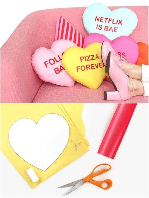 DIY Conversation Hearts Pillows