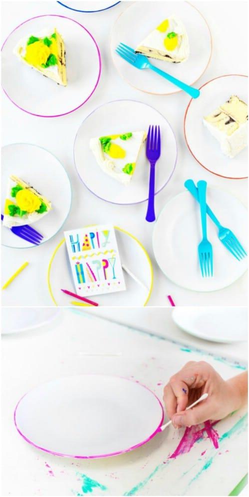 DIY Color Edged Plates