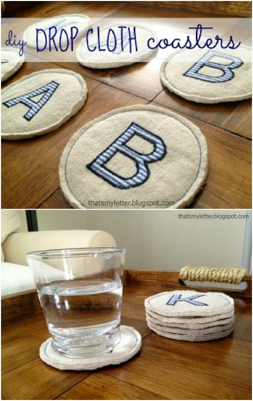 Personalized Drop Cloth Coasters
