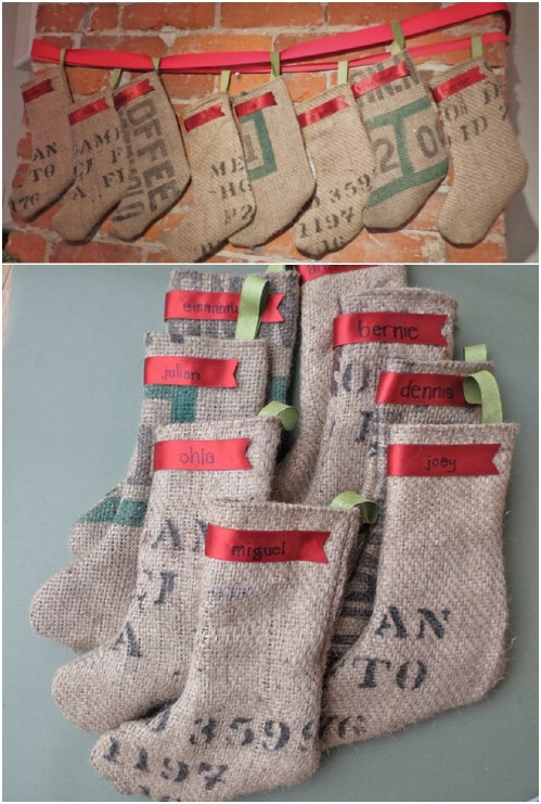 DIY Coffee Bag Stocking