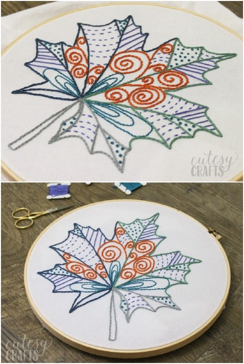 Fall Leaf Embroidery Pattern