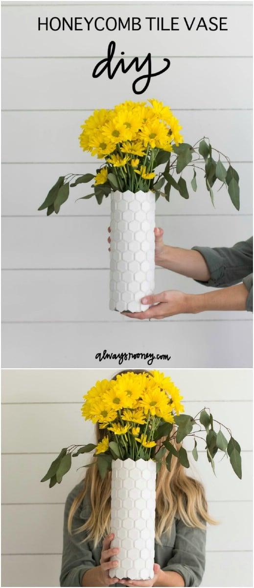 Easy DIY Honeycomb Tile Vase