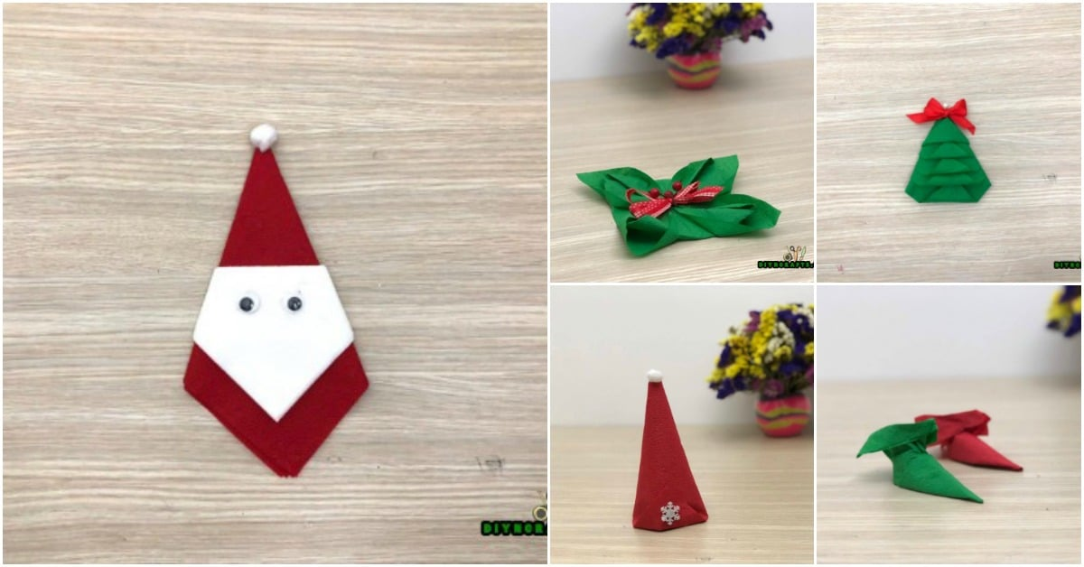5 Festive Diy Christmas Napkin Designs With Simple Video Instructions Diy Crafts