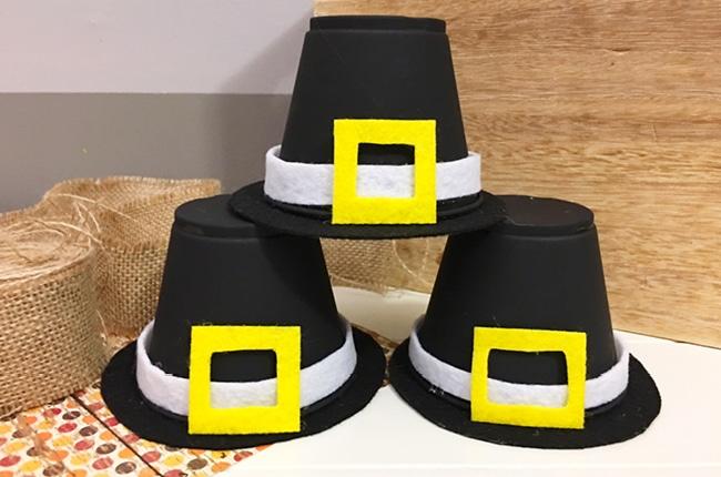 Stacked pumpkin hats