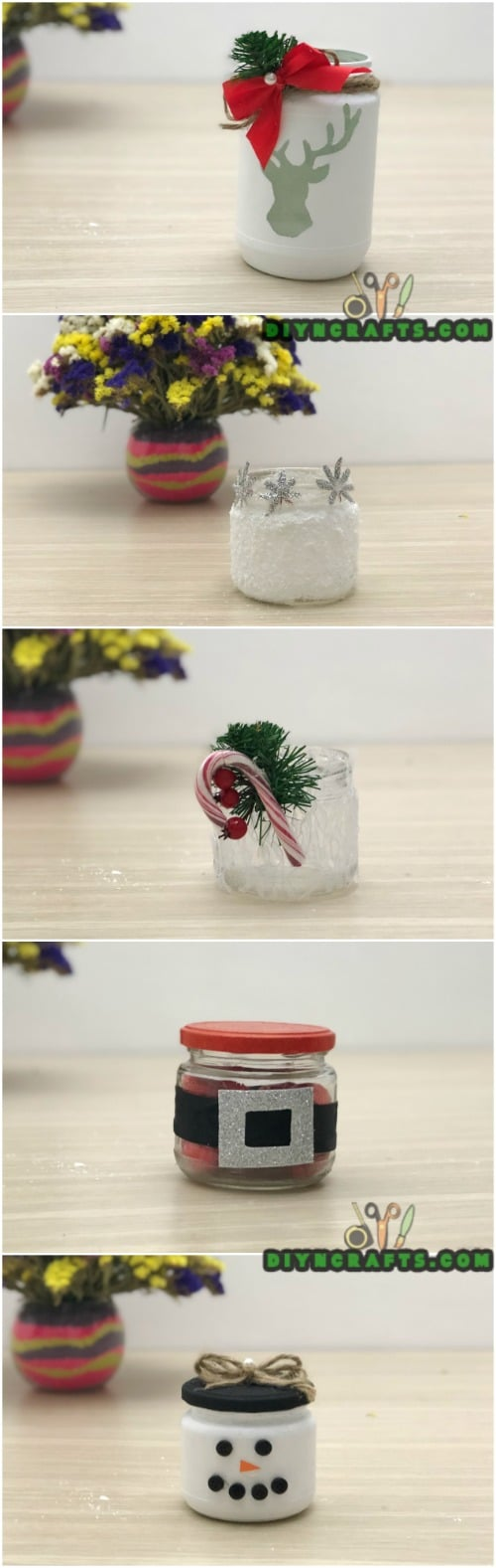 5 Decorative Christmas Jar Projects to Decorate Your Home Frugally - In fact, I've decided to put together five festive Christmas jar crafts for you here! The video is under 3 minutes long, so these are all super fast and easy crafts—perfect for when you are looking for something you can put together quickly. This makes them the ideal gift for all those special folks on your list you don't know how to shop for! #diy #christmas #crafts #masonjar #jar #decorations #decor #handmade