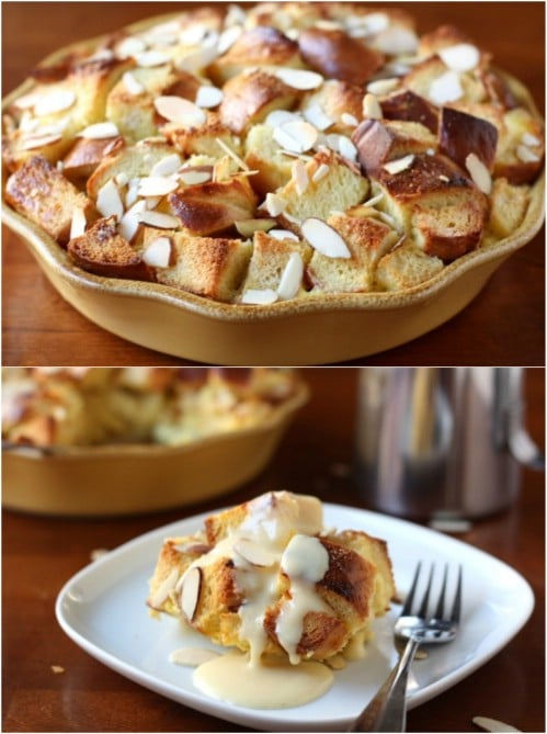Homemade Almond Bread Pudding With Eggnog Sauce