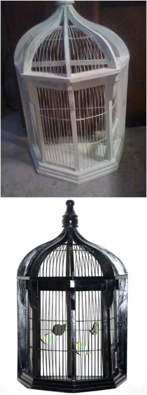 Thrift Store Bird Cage Makeover