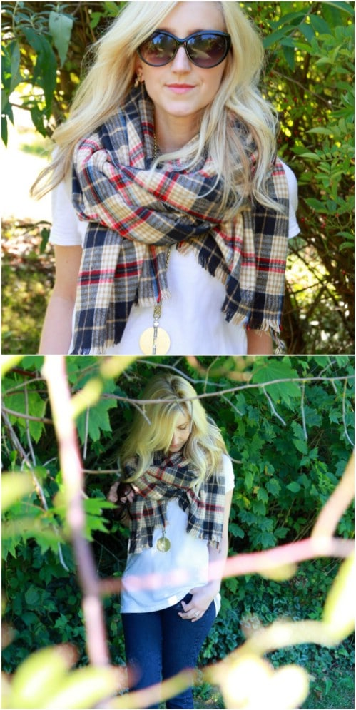 DIY No Sew Blanket Scarf