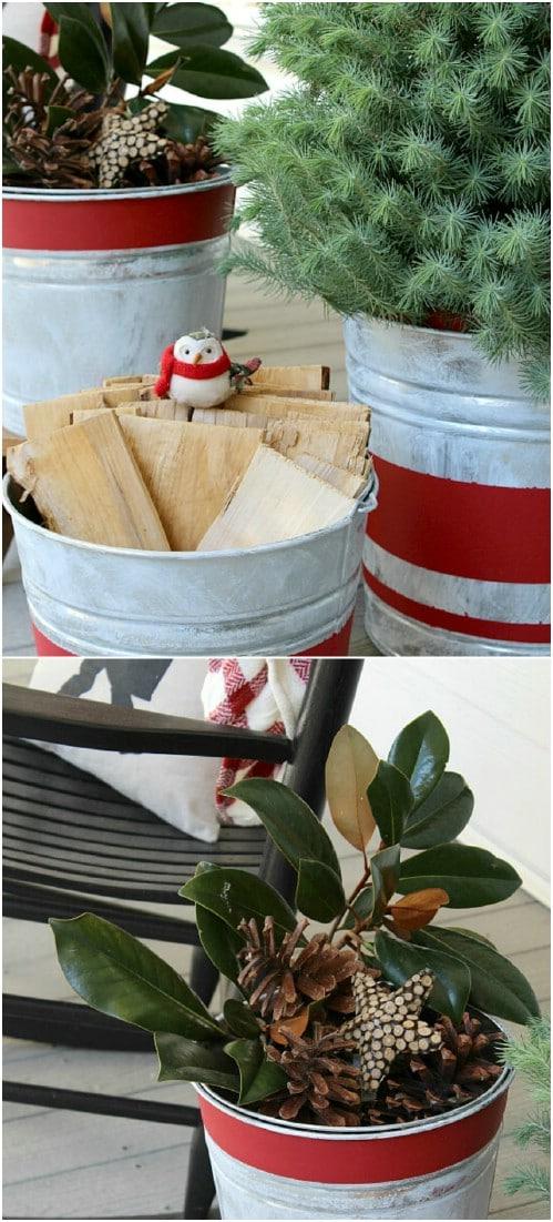 Vintage Galvanized Bucket Planters