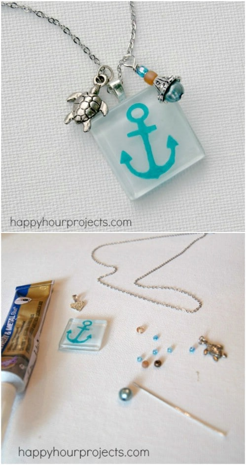 Painted Frosty Glass Anchor Pendant