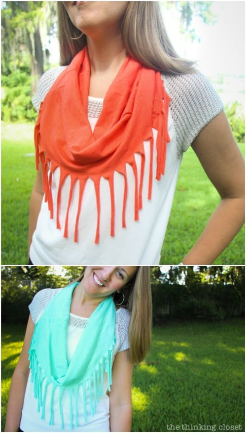 Simple 10 Minute Jersey Fringe Scarf