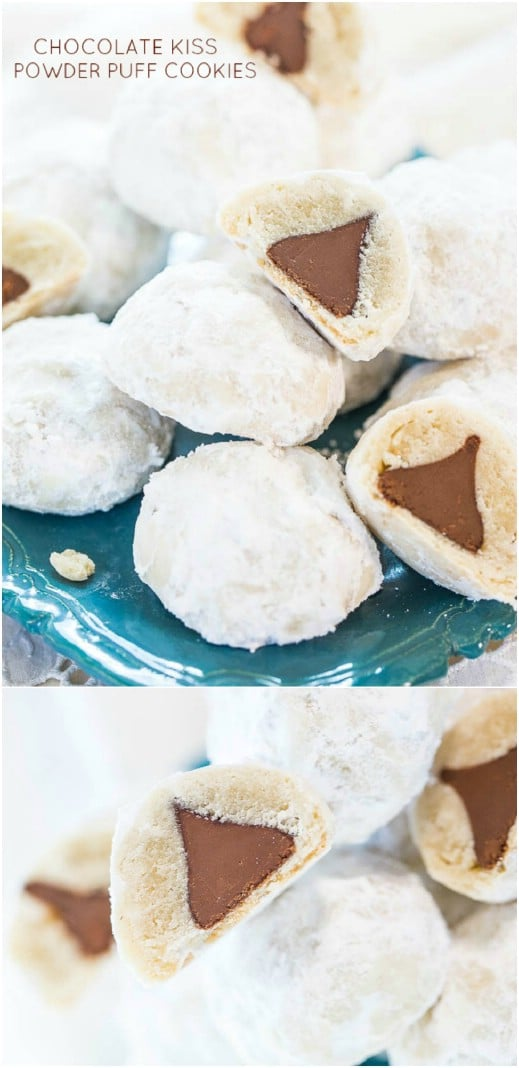 Powder Puff Cookies With Chocolate Kiss Center