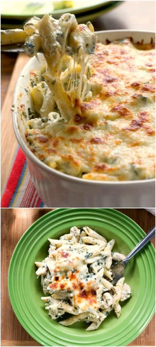 Spinach Dip Chicken Pasta Casserole