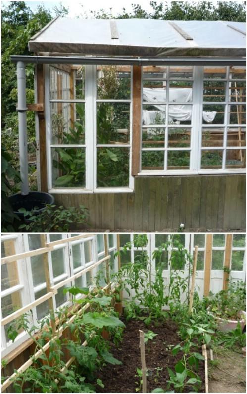 Repurposed Window Frame Greenhouse