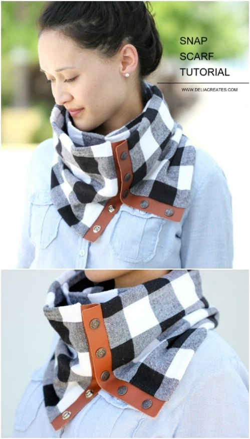 Fashionable Leather And Flannel Scarf