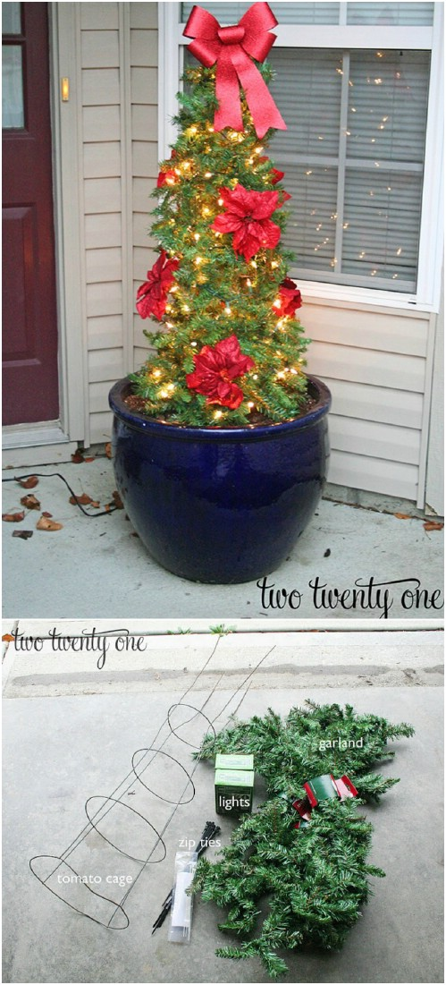 DIY Tomato Cage Poinsettia Christmas Tree