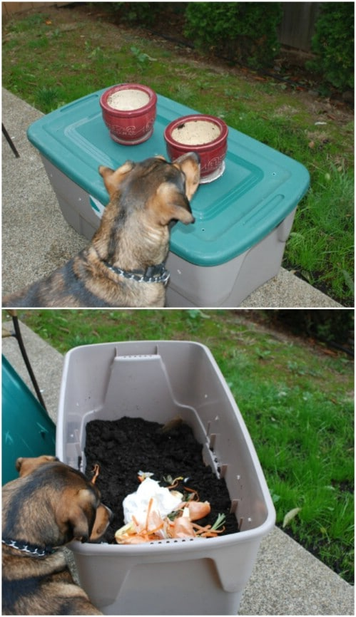 Repurposed Plastic Tote Compost Bin