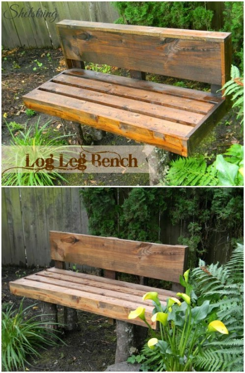 Rustic DIY Log Bench