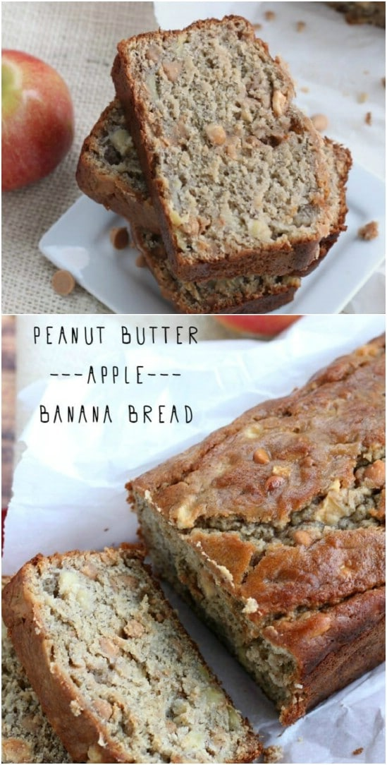 Banana Apple Peanut Butter Bread