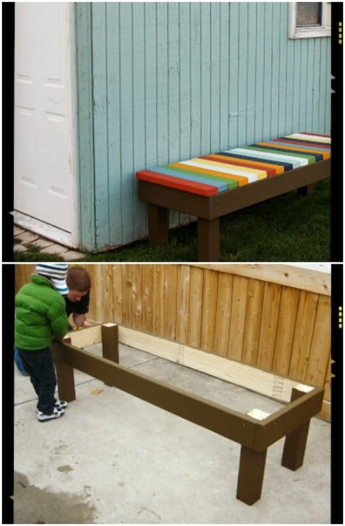 DIY Colorful Slat Bench