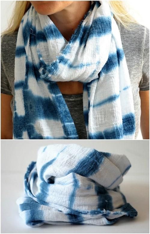 DIY Indigo Tie Dyed Scarf
