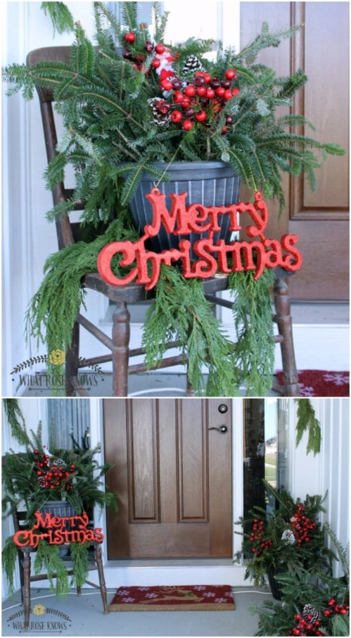 Gorgeous DIY Front Porch Evergreen Display