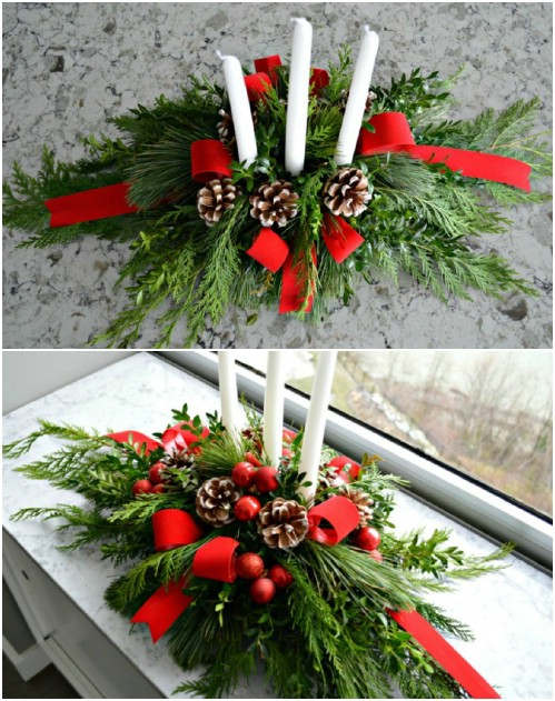Easy DIY Evergreen Christmas Centerpiece