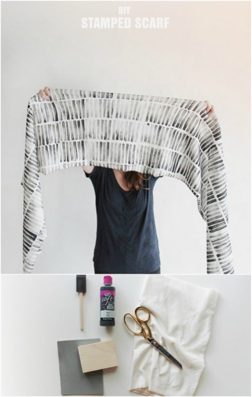 DIY No Sew Stamped Scarf