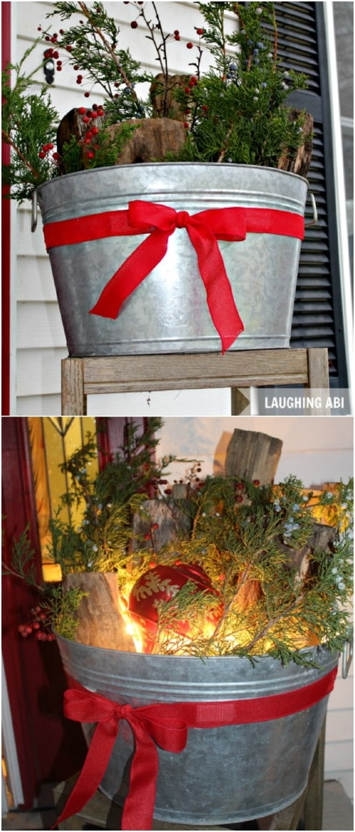 DIY Antique Washtub Holiday Planter