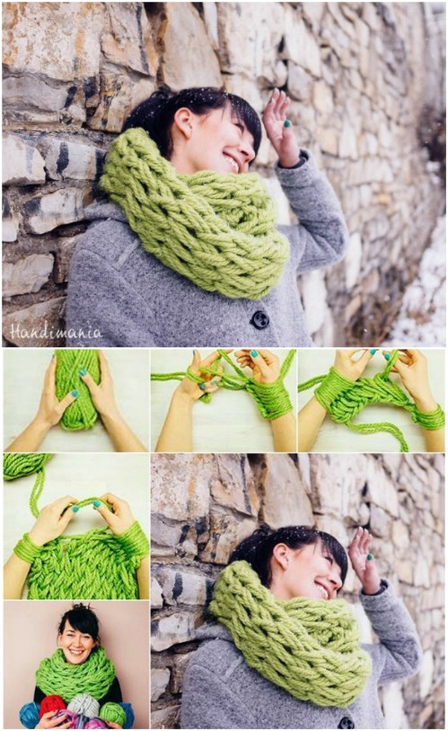 DIY Arm Knitted Scarf
