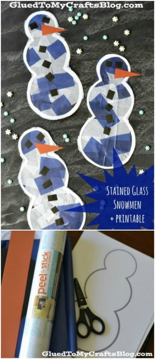 Stained Glass Snowmen