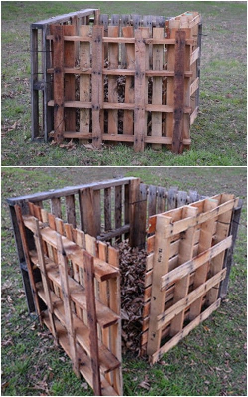 Repurposed Pallet Compost Bin