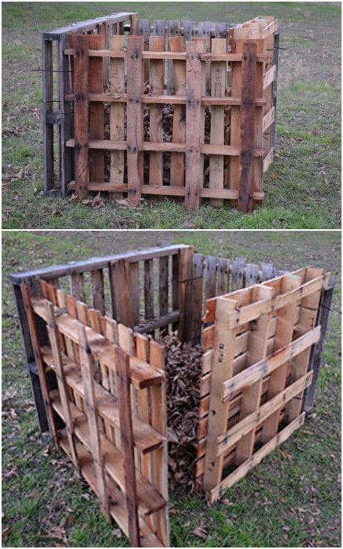 Repurposed Pallet Compost Bin