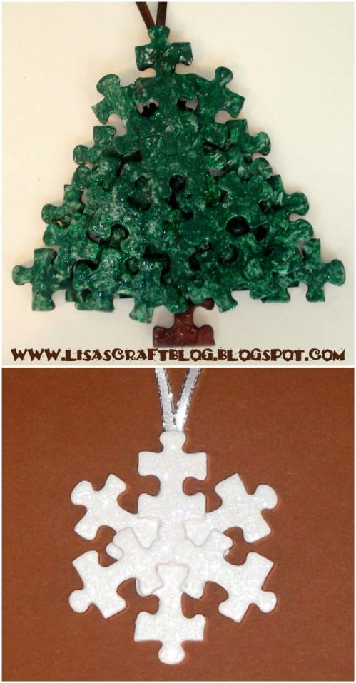 Upcycled Puzzle Piece Snowflakes