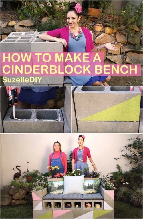 Cheap And Easy Block And Wood Bench