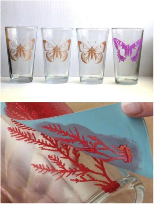 DIY Silk Screened Butterfly Glasses
