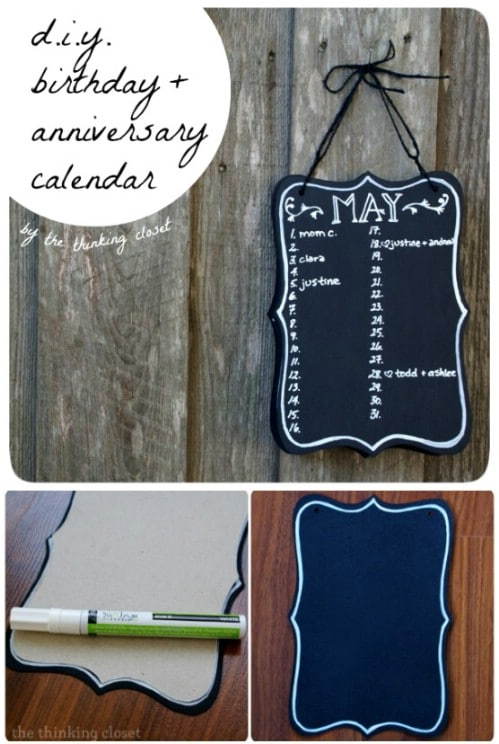 DIY Birthday And Anniversary Calendar