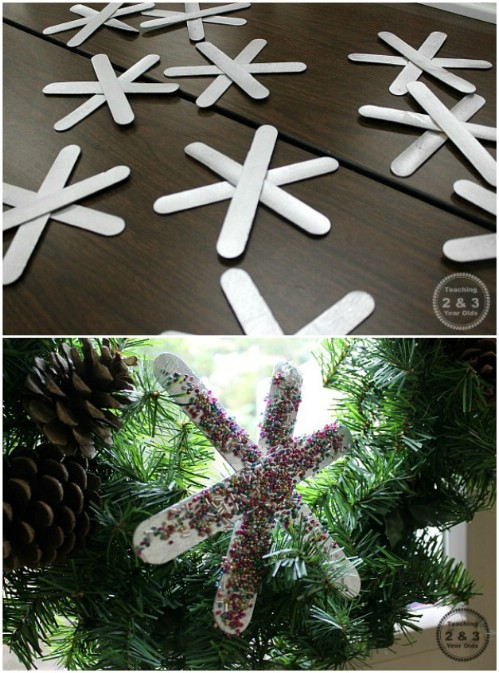 Colorful Craft Stick Snowflakes