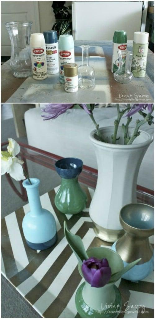 DIY Color Block Vases