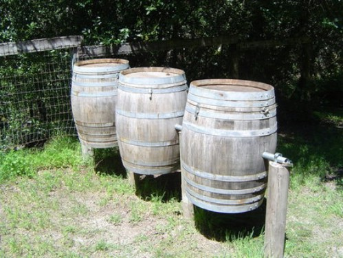 DIY wine Barrel Compost Station