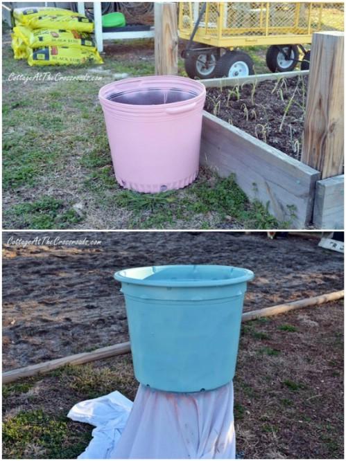 Painted Plastic Pots