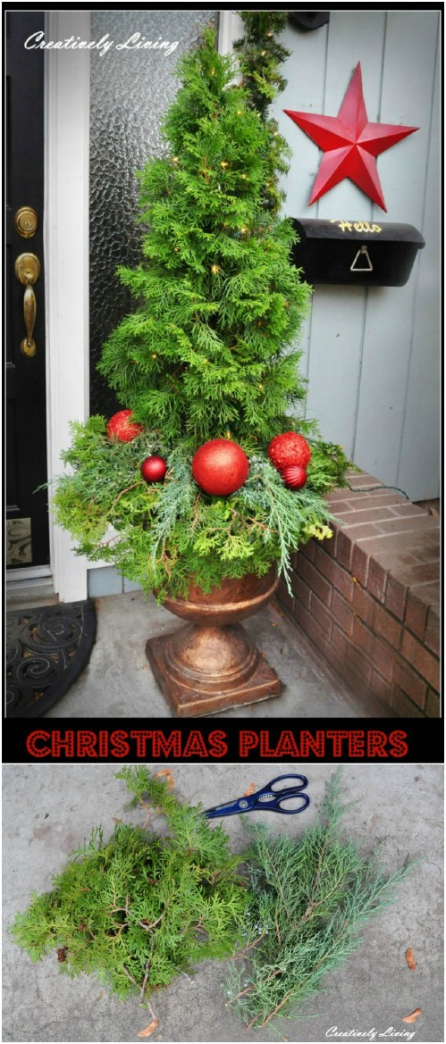 Decorated Christmas Tree Topiary Planter