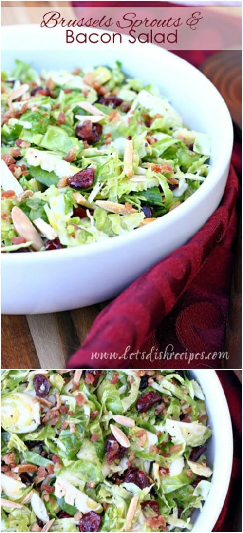 Brussels Sprouts Salad With Bacon And Cranberries