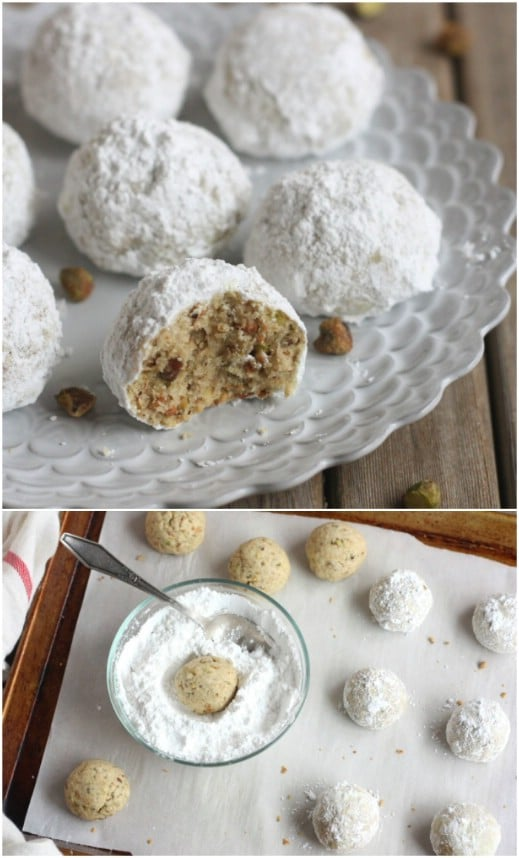 Homemade Pistachio Snowball Christmas Cookies