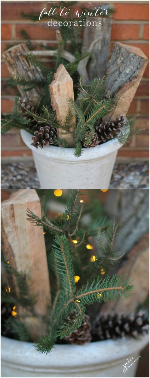 Easy And Cheap Rustic Winter Planter