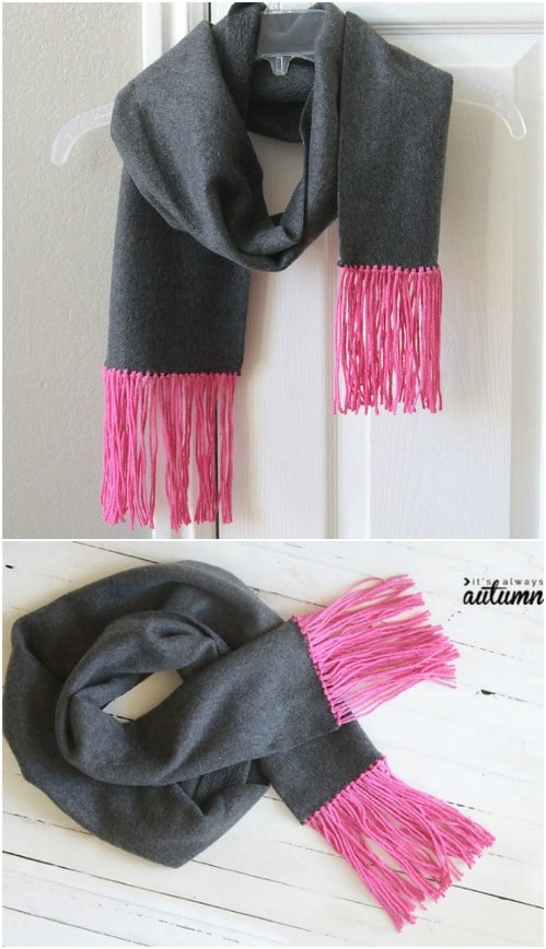 No Sew DIY Fringe And Fleece Scarf