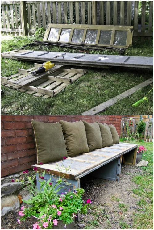 Upcycled Garage Door Bench